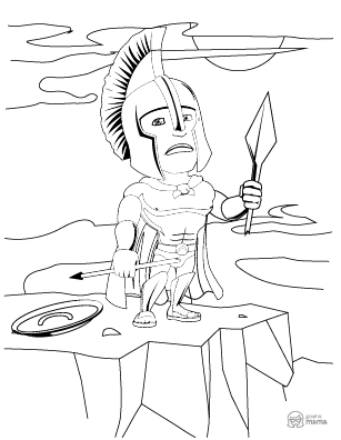 Spartan Warrior Cartoon coloring page free printable Sheet