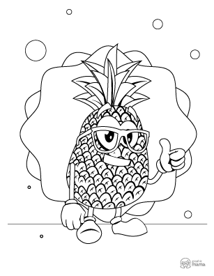 Pineapple Cartoon coloring page free printable Sheet