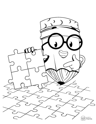 Pencil Cartoon coloring page free printable Sheet