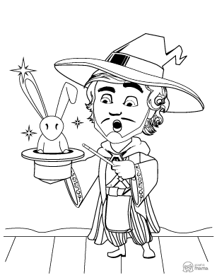 Magician Cartoon coloring page free printable Sheet