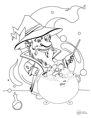 Wizard Cartoon coloring page free printable Sheet