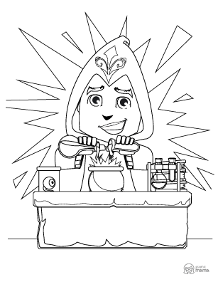 Kid with Magic Powers Cartoon coloring page free printable Sheet