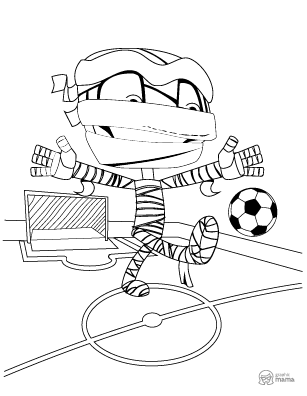 Funny Mummy Cartoon coloring page free printable Sheet