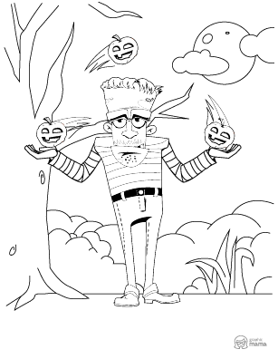 Funny Zombie Cartoon coloring page free printable Sheet