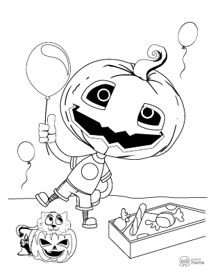 Pumpkin Cartoon coloring page free printable Sheet