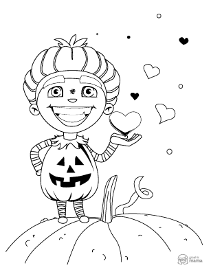 Boy with Halloween Costume Cartoon coloring page free printable Sheet