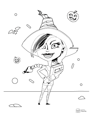 Pretty Witch Cartoon coloring page free printable Sheet