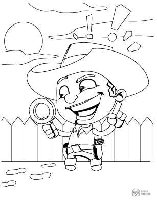 Cowboy Kid Cartoon coloring page free printable Sheet