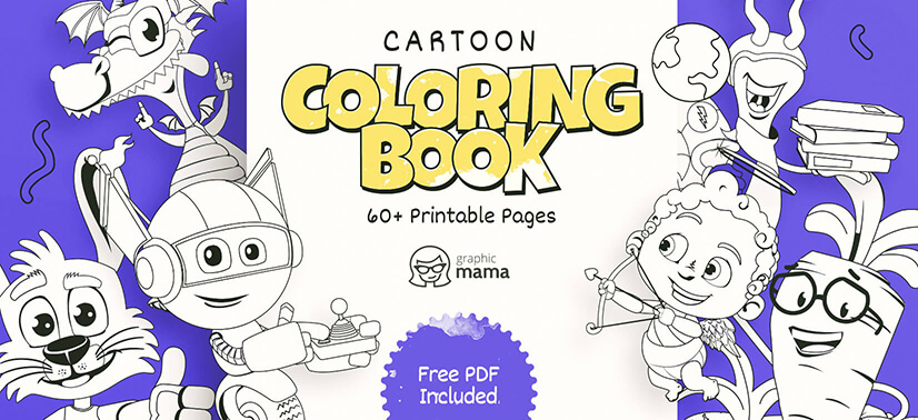 Cartoon Coloring Book: 60+ Free Printable Pages PDF By GraphicMama  GraphicMama Blog