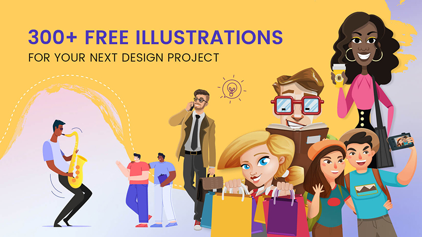 300+ Free Illustrations for web design projects