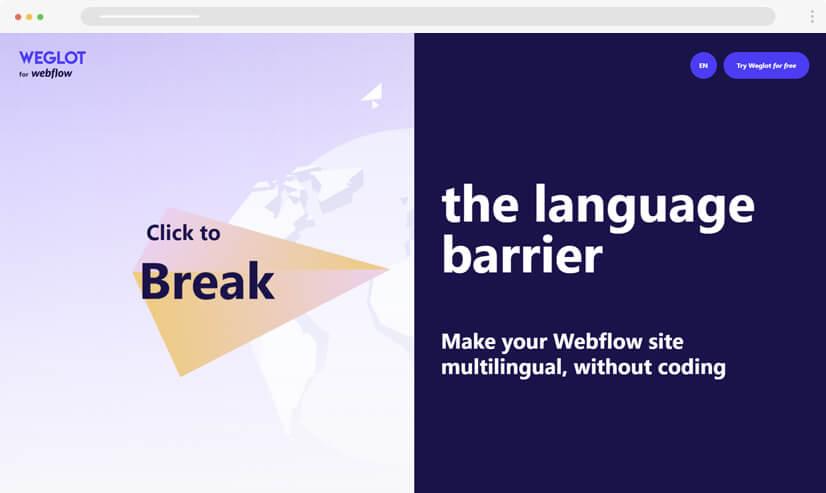 website design idea: split screen in web design - example 4