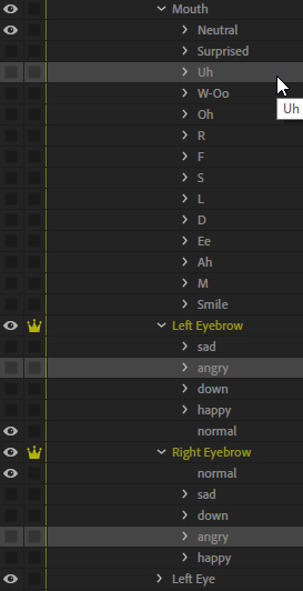 Adding elements to triggers in Character Animator