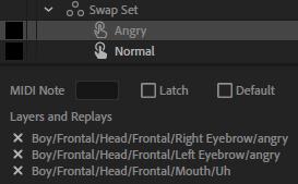 Swap set trigger content character animator