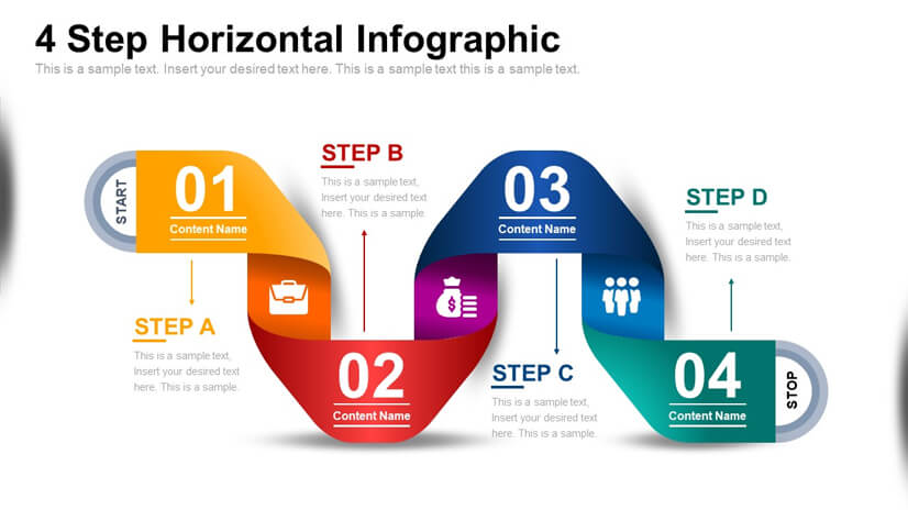 Free 4 Step Infographic Diagram for Powerpoint and Google Slides