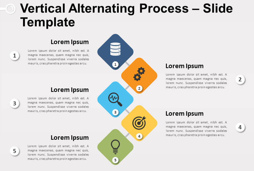 Vertical Alternating Process Powerpoint and Google Slides