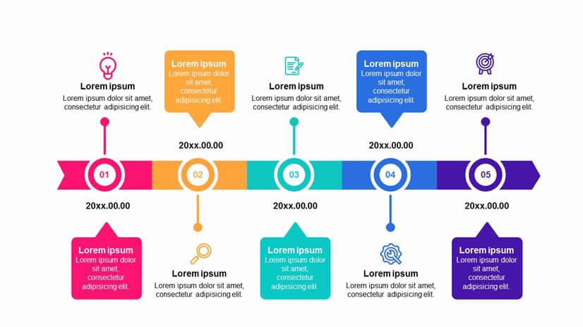 Colorful 5 Steps Roadmap Timeline Free Google Slides Theme