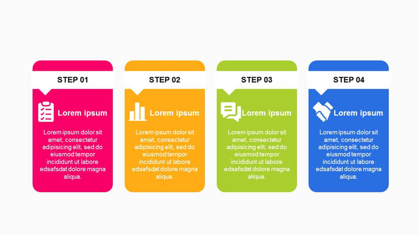Textbox Concept with 4 Steps Roadmap Timeline Free Google Slides