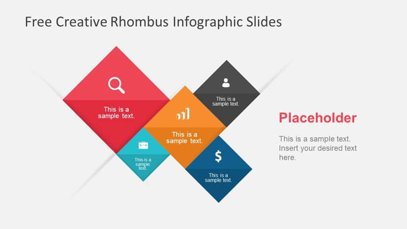 Free Rhombus Infographic Slide Templates for Presentation