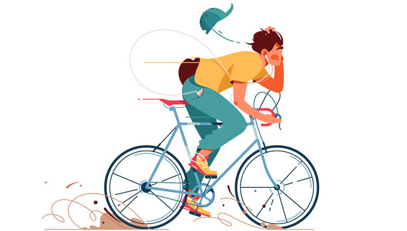 Flat man on bicycle character illustration