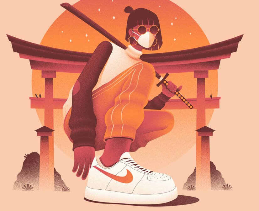 Girl Character Illustration for Nike - Monochrome color style