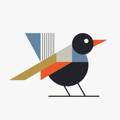 Bird geometry character illustration