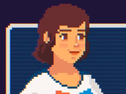 pixel style animation with character illustration