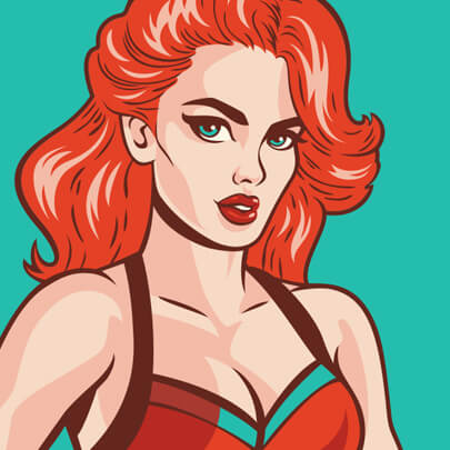 Pinup girl cartoon character illustration