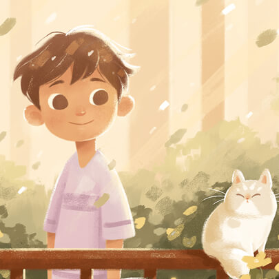 Paint kid with cat character illustration