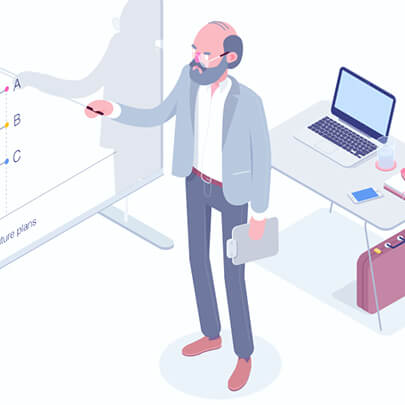 Isometric character illustration presentation teacher