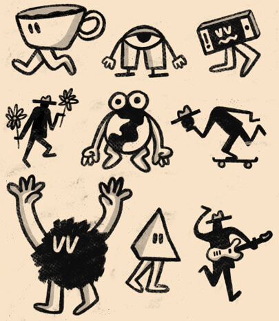 Fun doodle characters illustration