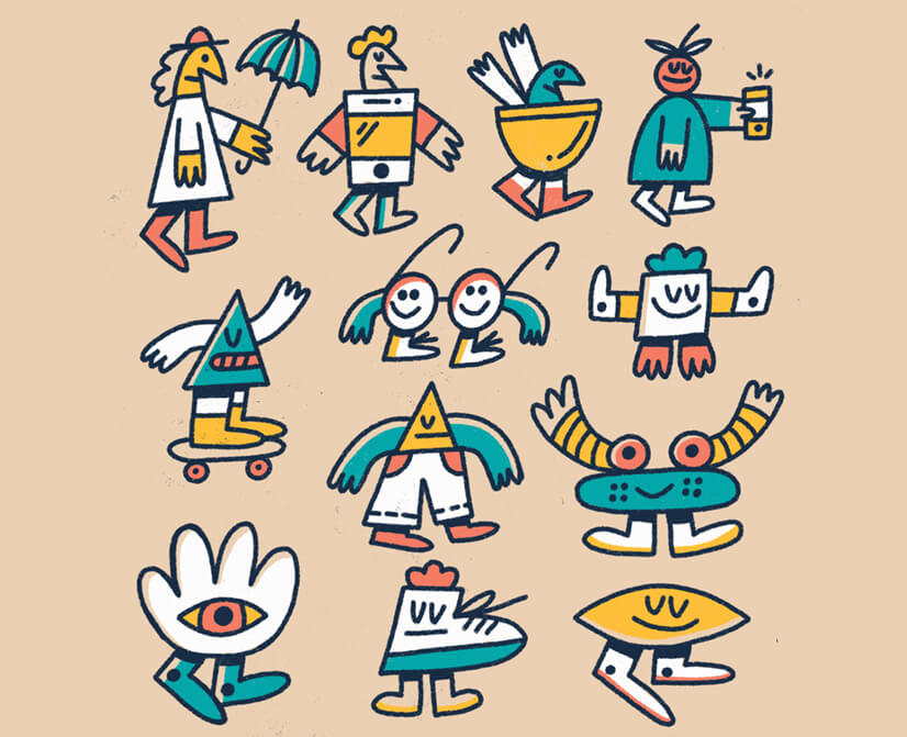 Colored doodle characters illustration amazing exmaple