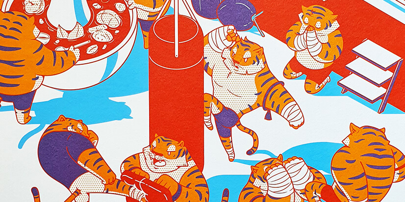 Tiger with pattern designs character illustration example
