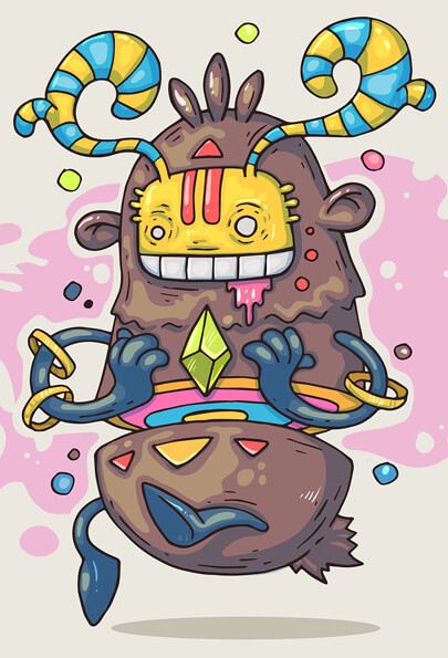 cartoon character illustration in graffiti style