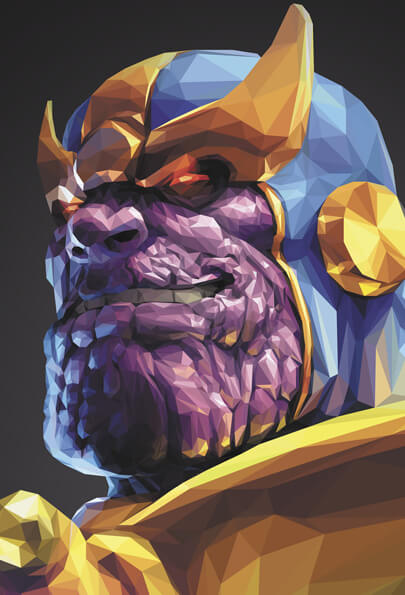 Low poly thanos character illustration