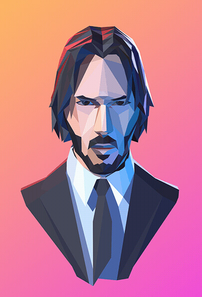 low poly man character illustration - John Wick