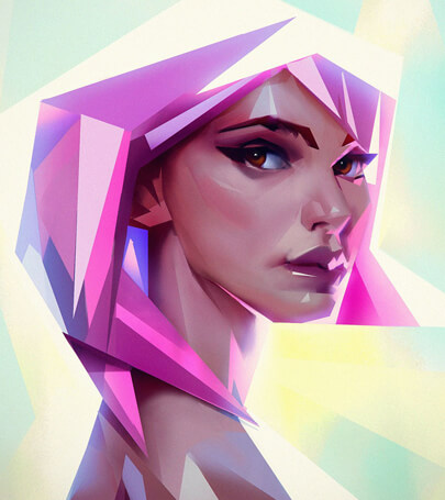 Low-poly girl character illustration example