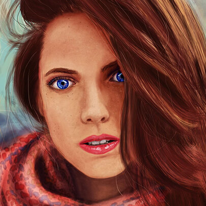Realistic woman character illustration example