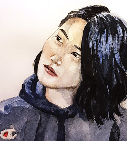 Watercolor female character portrait illustration