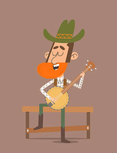 Modern style cartoon cowboy character illustration