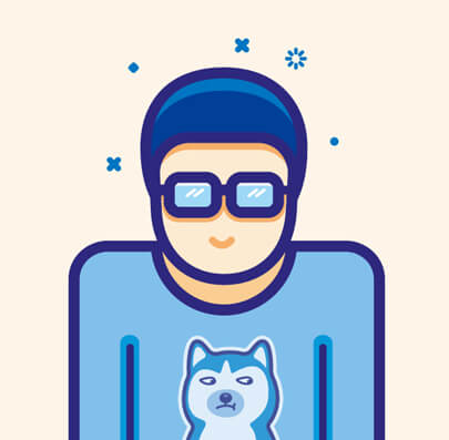colorful cartoon male character illustration in minimalist style with stroke