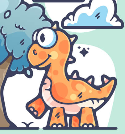 colorful dinosaur character illustration with big stroke line