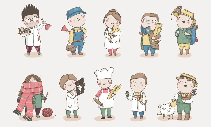 Cute chibi characters illustration