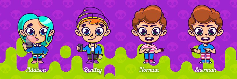 Chibbi child character illustrations example