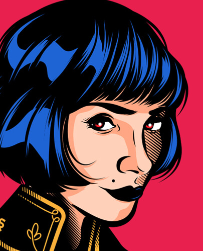 Character illustration in comic style