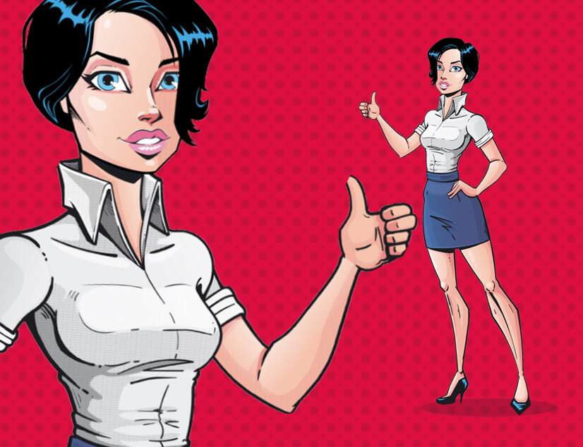 Comic style woman character illustration by GraphicMama