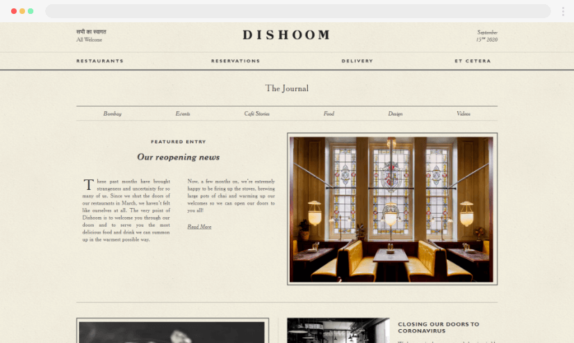 Desain blog Dishoom