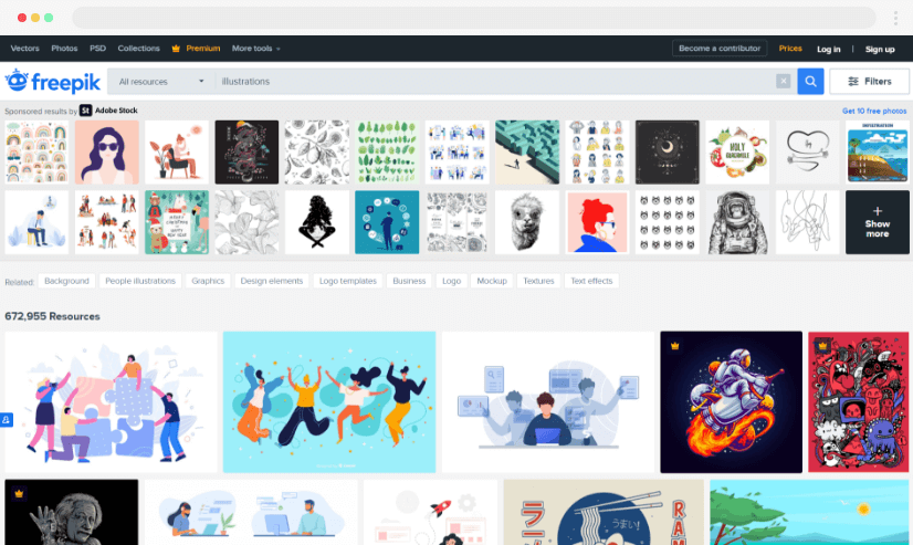 Freepik stock graphics website