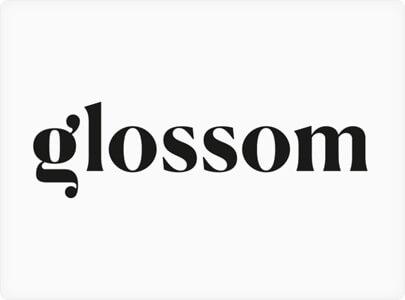 Дизайн логотипа Glossom - тренд 2021 года