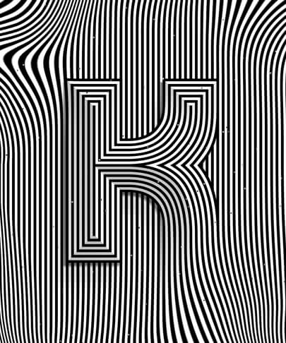 Letter K typography design with optical illusion