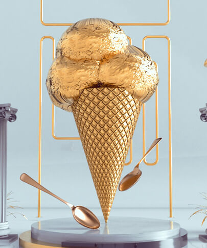 Golden ice cream product design advertising design trend